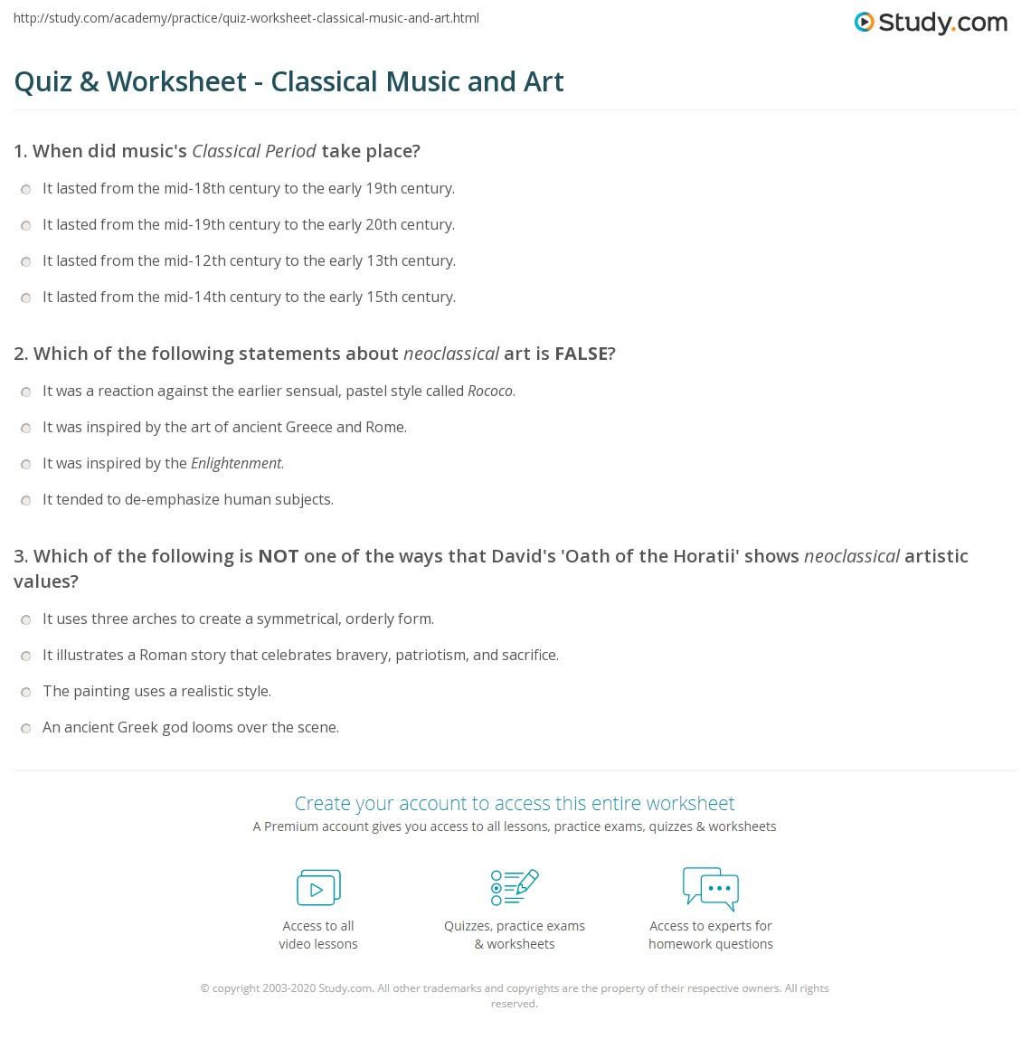 worksheet Art Worksheet quiz worksheet classical music and art study com print how connected to in the period worksheet