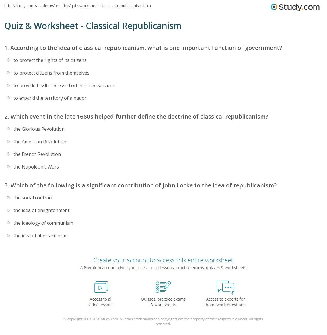 quiz & worksheet - classical republicanism | study