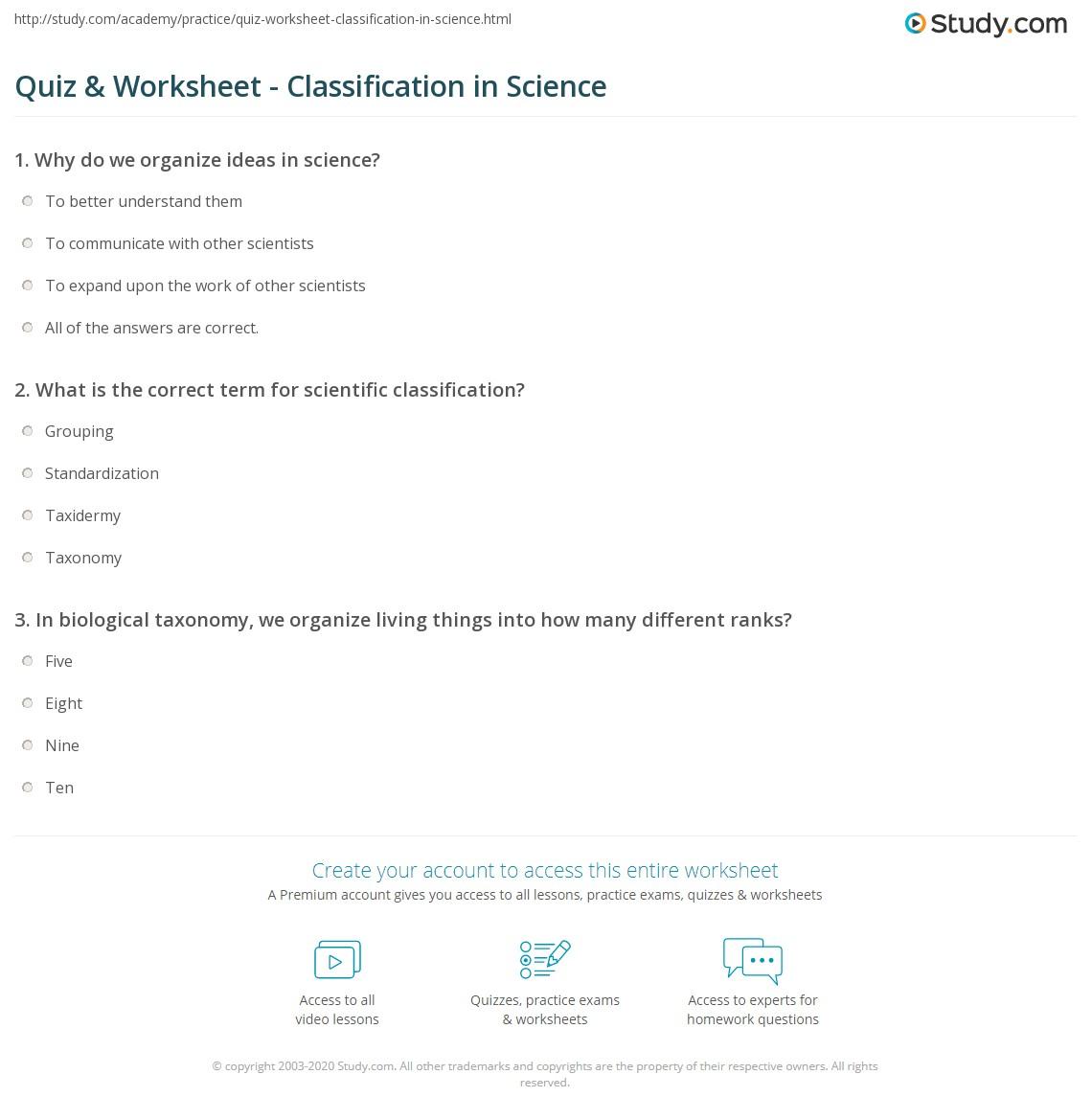 Quiz & Worksheet - Classification in Science | Study.com