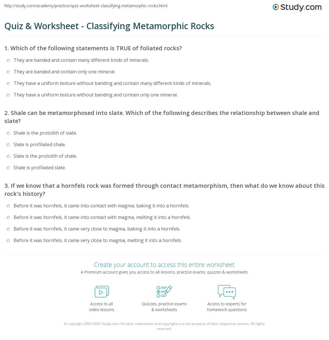 worksheet Classifying Rocks Worksheet quiz worksheet classifying metamorphic rocks study com print classification of texture parent worksheet
