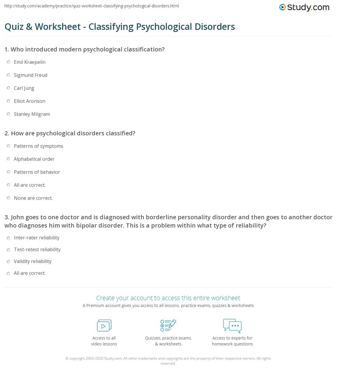 Quiz Worksheet Classifying Psychological Disorders Study Com