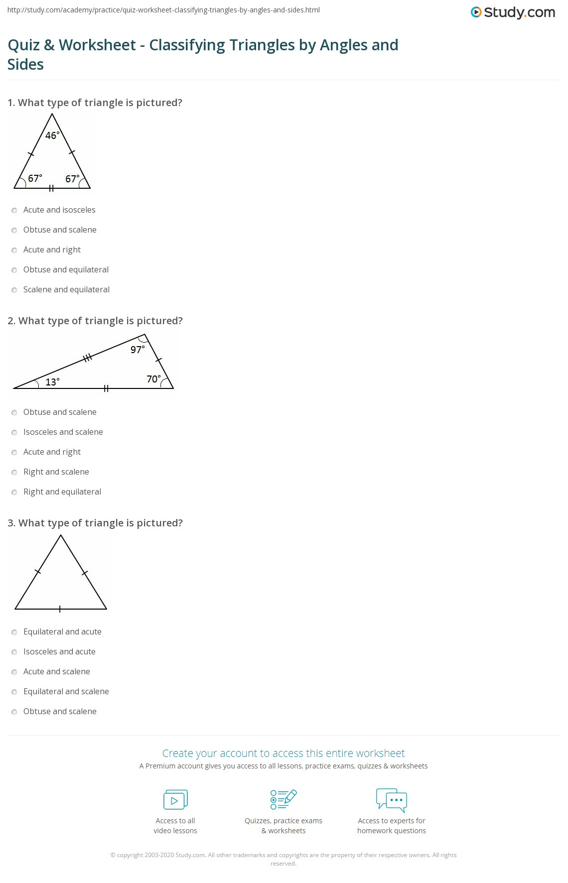Quiz & Worksheet Classifying Triangles by Angles and Sides