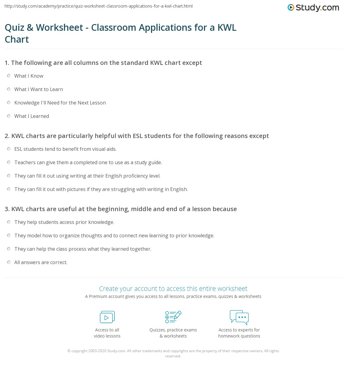Print KWL Chart: Example Graphic Organizer And Classroom Applications  Worksheet