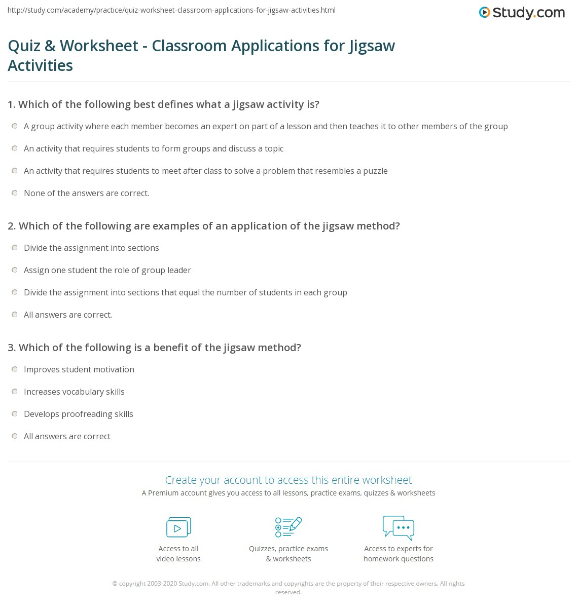 worksheet Jigsaw Reading Activities Worksheets quiz worksheet classroom applications for jigsaw activities print examples worksheet