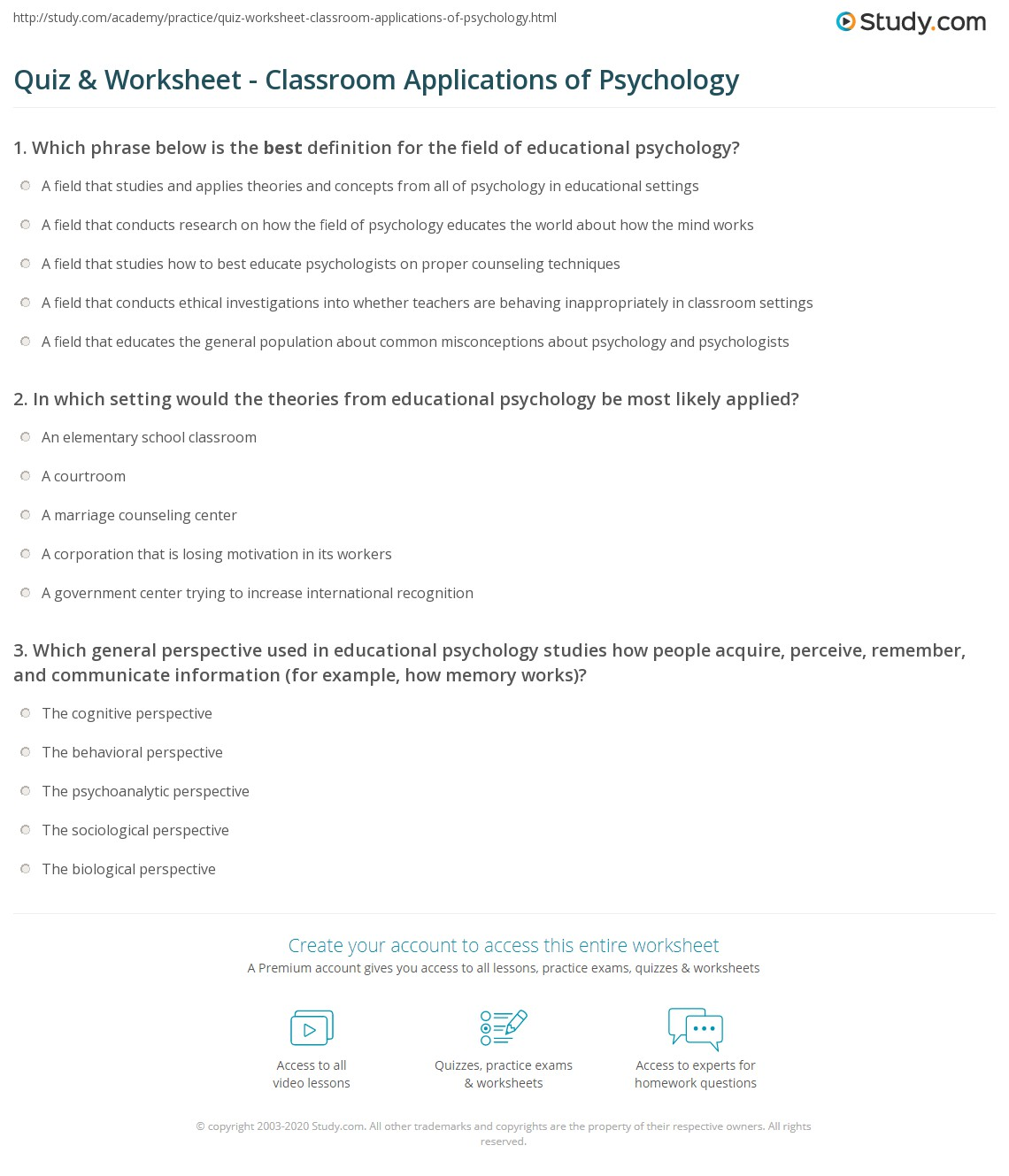 quiz & worksheet - classroom applications of psychology | study