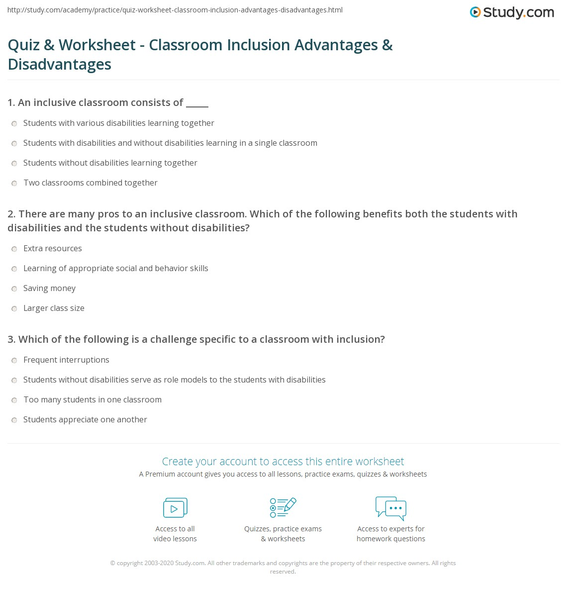 Workbooks quiz worksheets : Quiz & Worksheet - Classroom Inclusion Advantages & Disadvantages ...