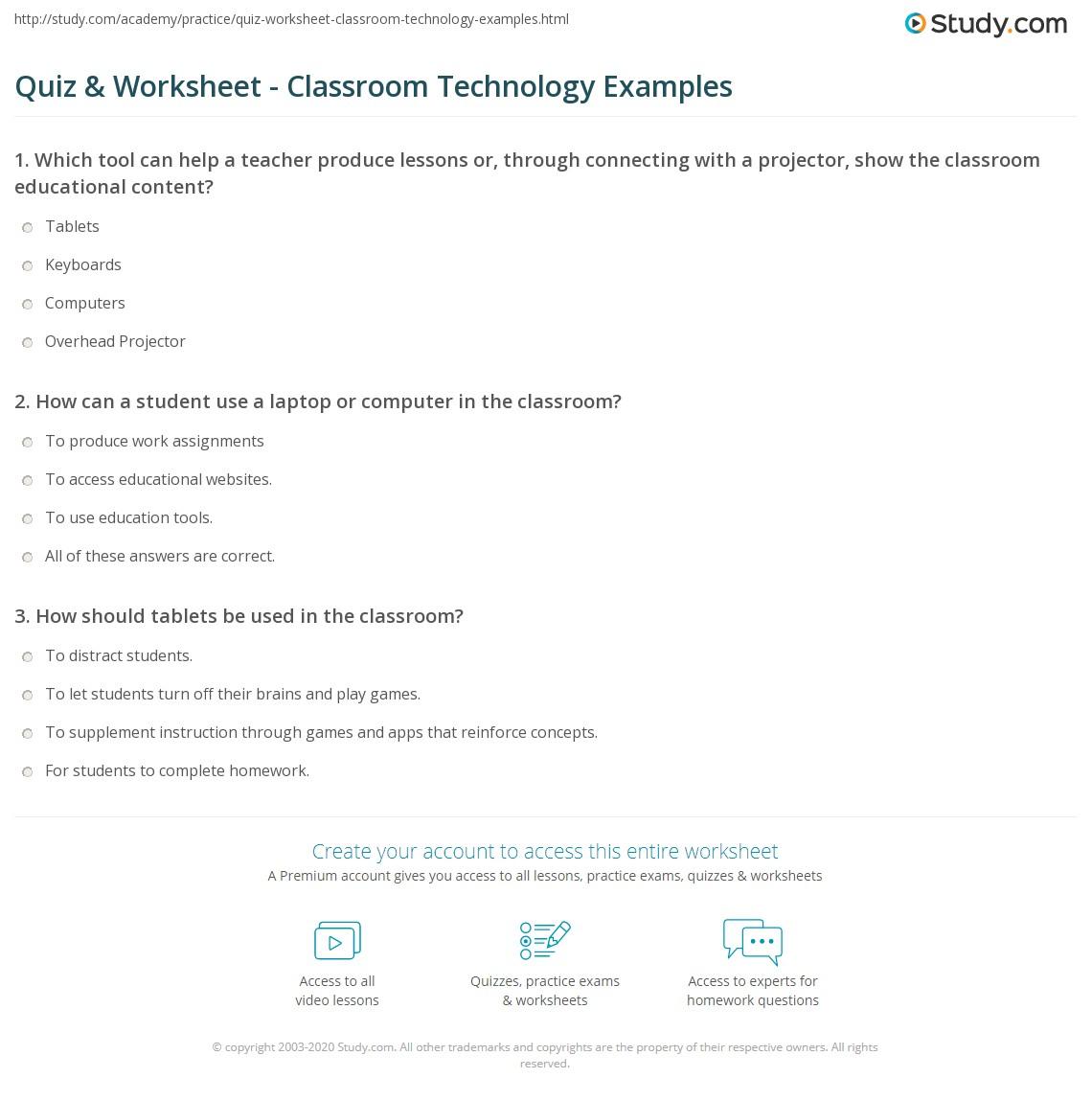 quiz worksheet classroom technology examples. Black Bedroom Furniture Sets. Home Design Ideas