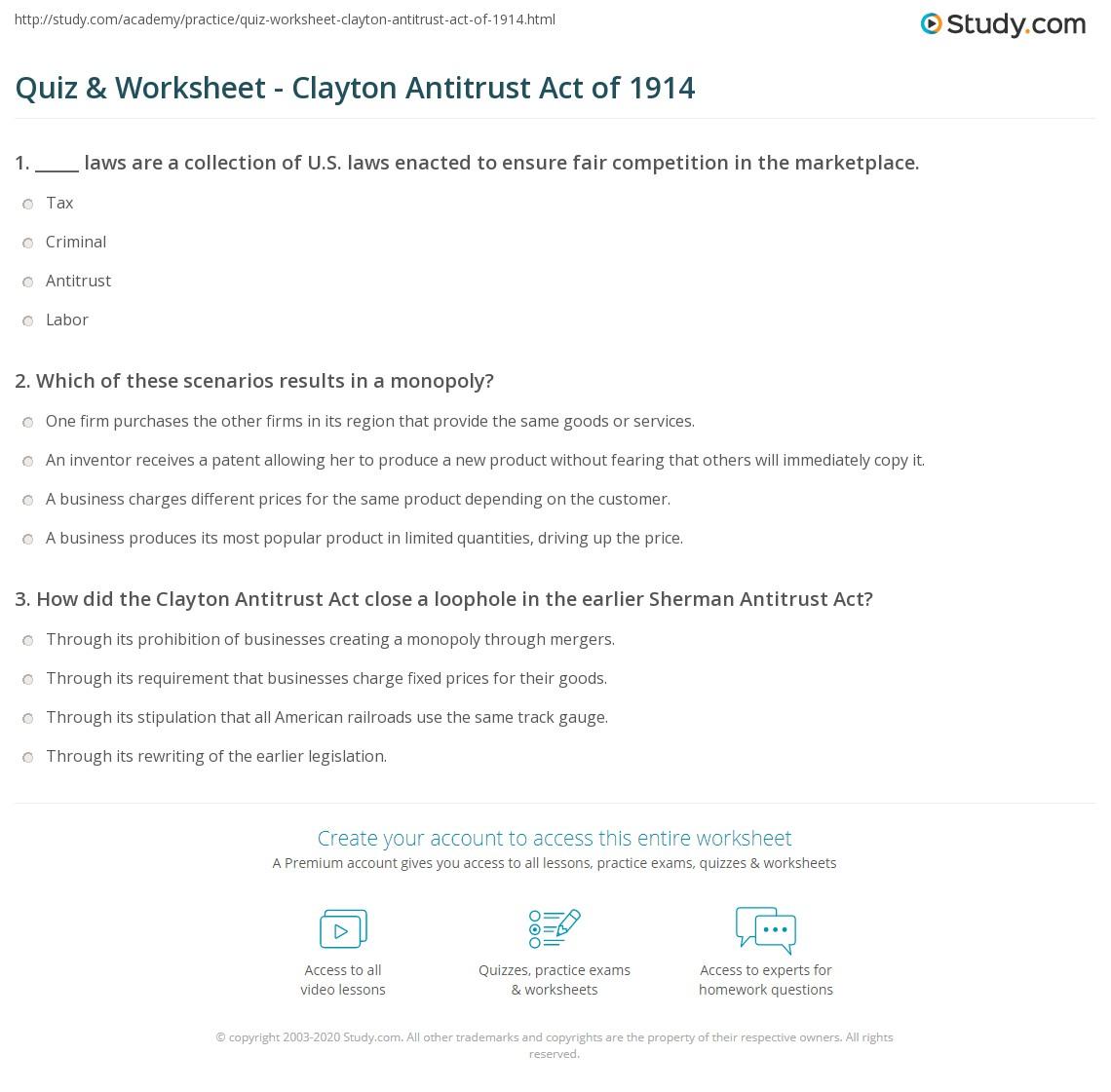 Quiz & Worksheet - Clayton Antitrust Act of 1914 | Study.com