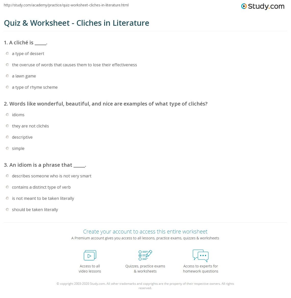Quiz Worksheet Cliches In Literature Study