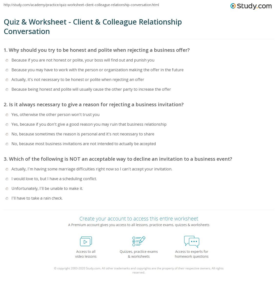 Quiz Worksheet Client Colleague Relationship Conversation