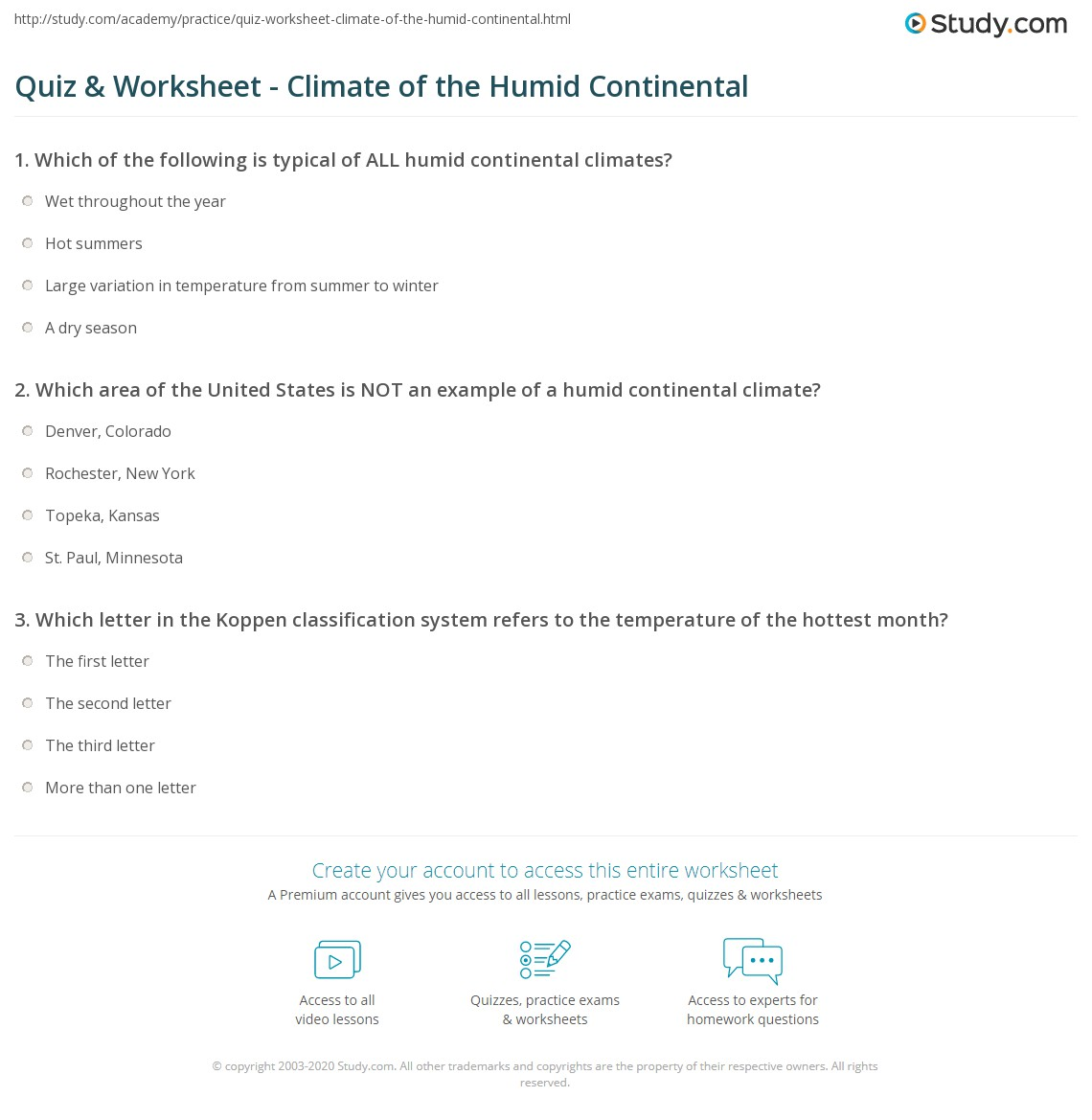 Worksheets Climate Worksheet quiz worksheet climate of the humid continental study com print definition maps facts worksheet