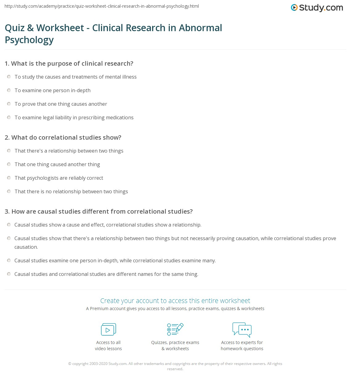 Quiz Worksheet Clinical Research In Abnormal Psychology Study