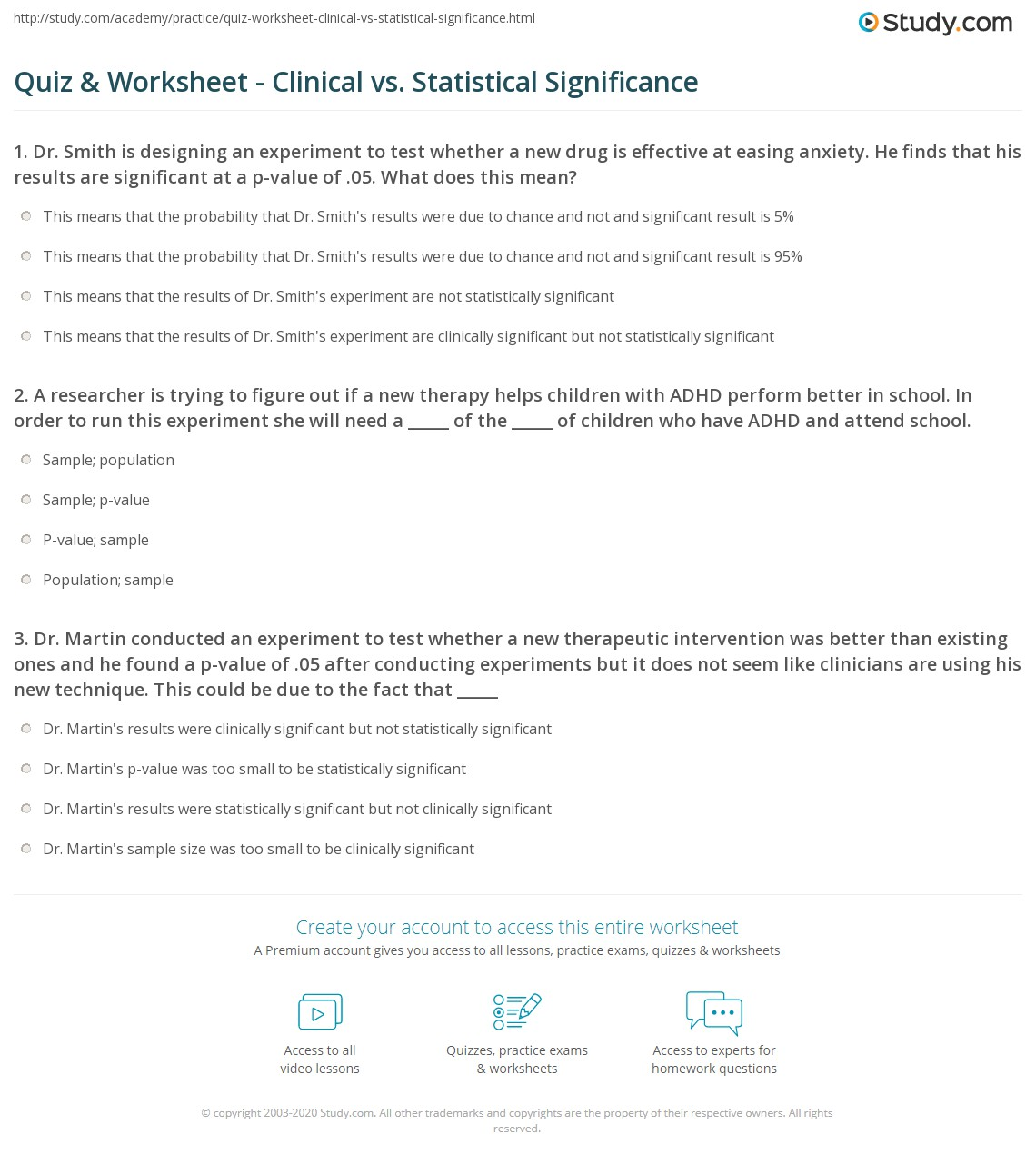 Quiz Worksheet Clinical vs Statistical Significance – Designing an Experiment Worksheet