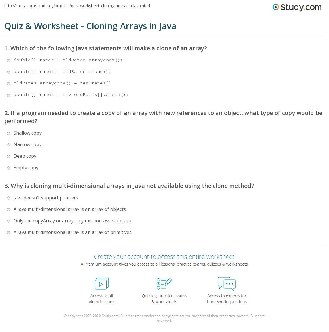 Quiz & Worksheet - Cloning Arrays in Java | Study com