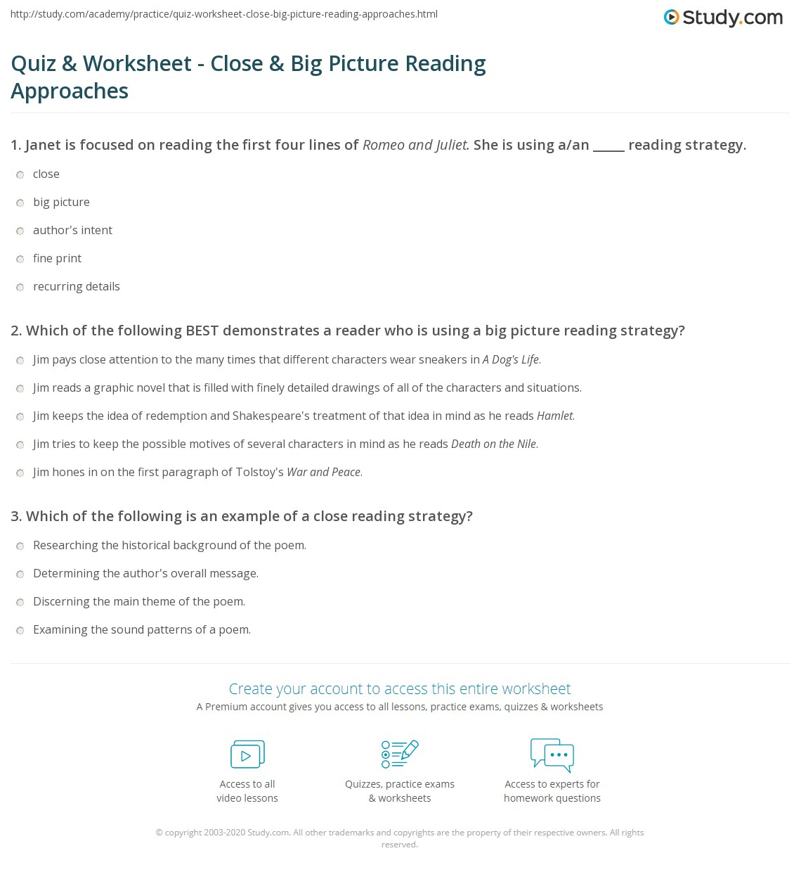 Quiz Worksheet Close Big Picture Reading Approaches Study