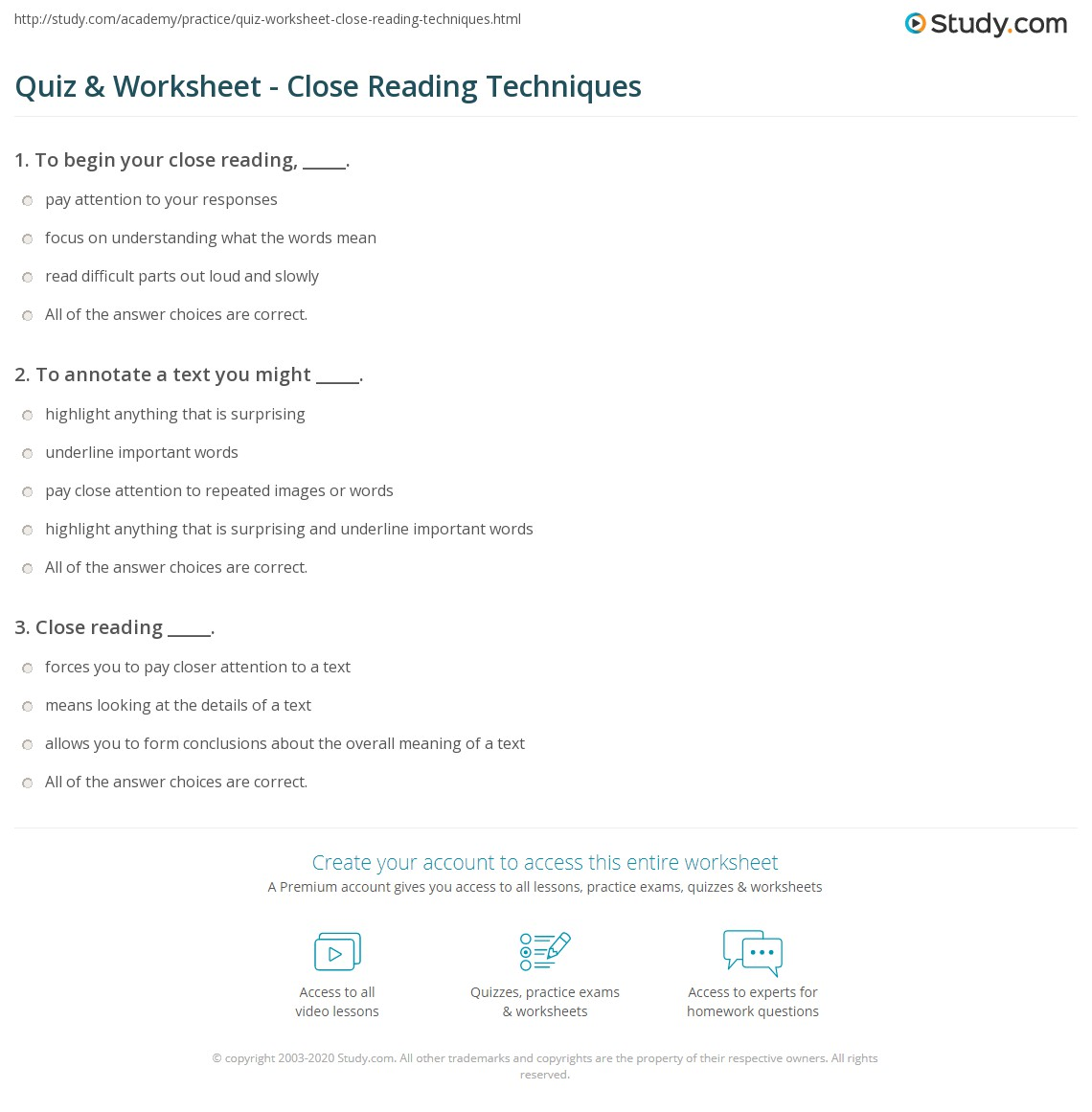 Quiz Worksheet Close Reading Techniques – Close Reading Worksheet