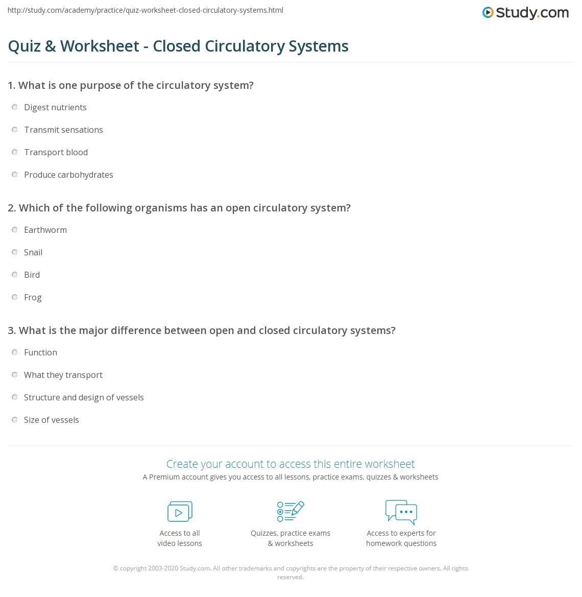 Worksheets Circulatory System Worksheet quiz worksheet closed circulatory systems study com print system definition advantage worksheet