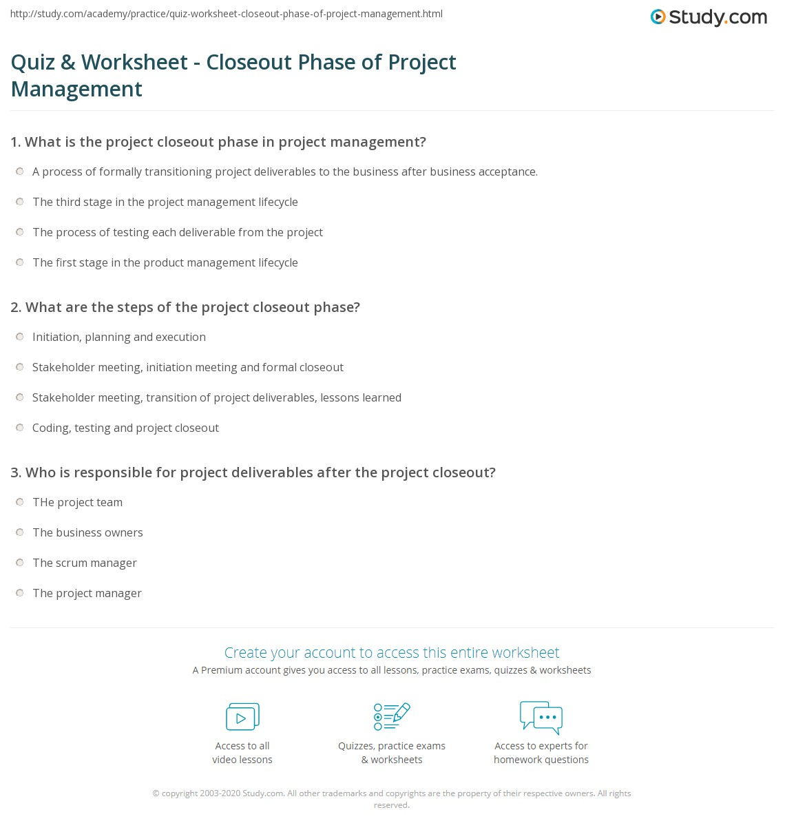 Project Closeout | Quiz Worksheet Closeout Phase Of Project Management Study Com