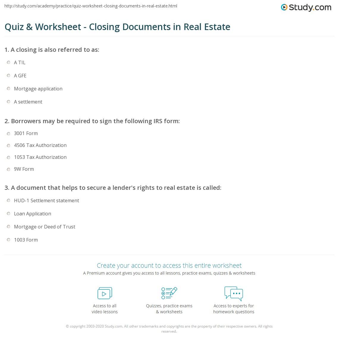 Worksheets Closing Cost Worksheet quiz worksheet closing documents in real estate study com print overview description worksheet