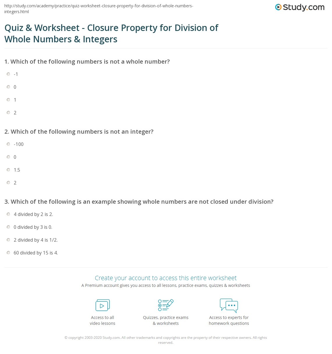 quiz  worksheet  closure property for division of whole numbers  print using the closure property to divide whole numbers  integers  worksheet