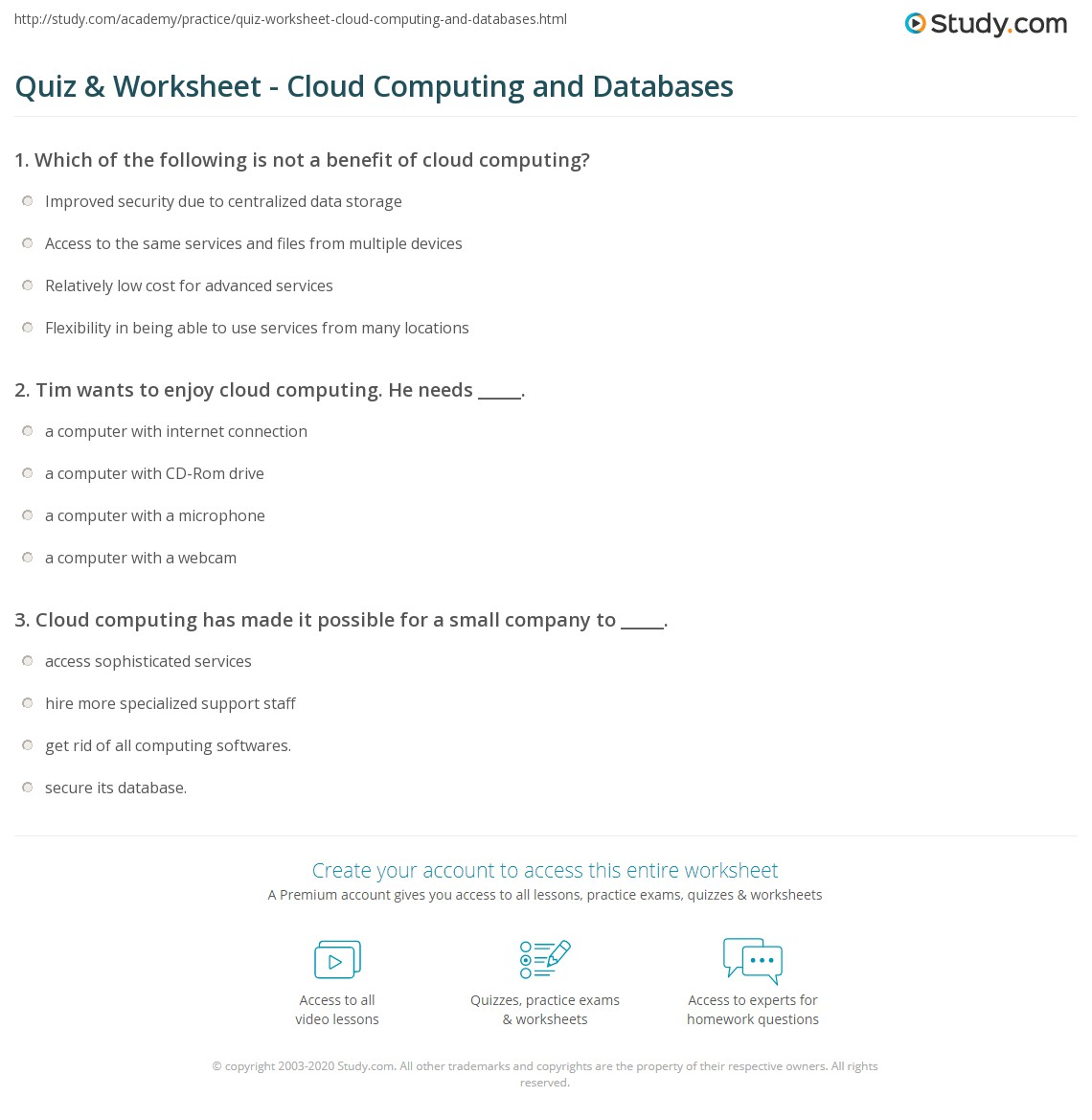 Quiz Worksheet Cloud Computing And Databases Study Com