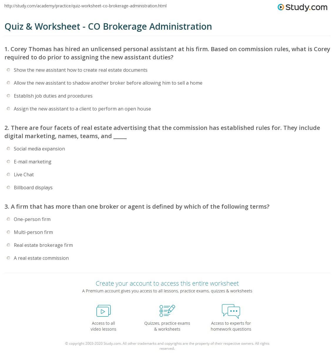 quiz & worksheet - co brokerage administration   study