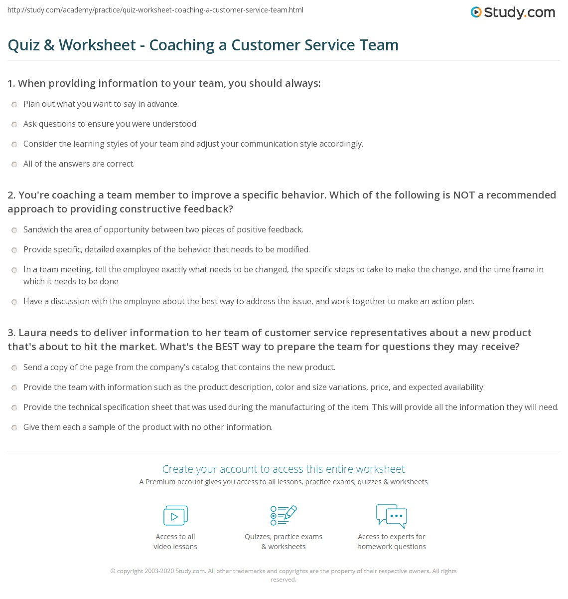 quiz worksheet coaching a customer service team. Black Bedroom Furniture Sets. Home Design Ideas