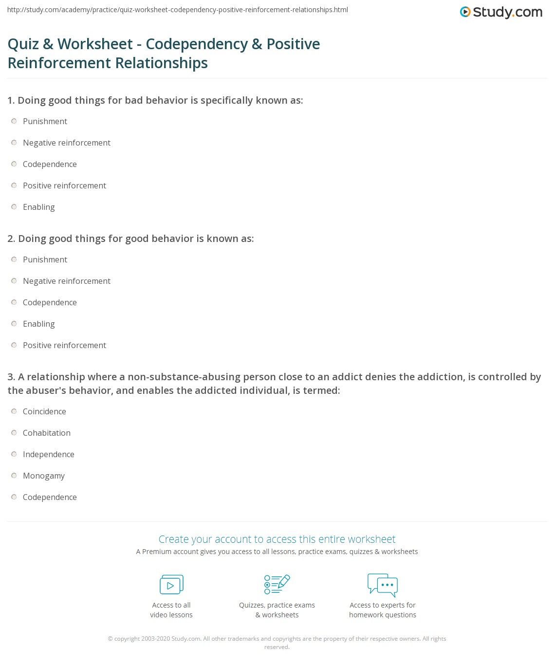 Quiz & Worksheet - Codependency & Positive Reinforcement ...
