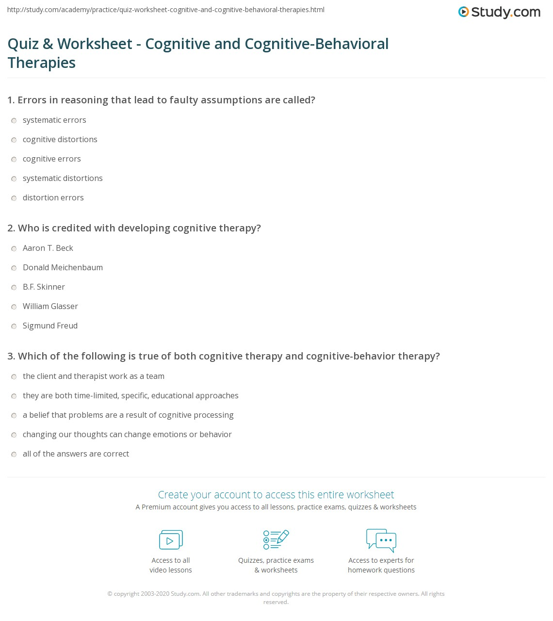 worksheet Cognitive Therapy Worksheets quiz worksheet cognitive and behavioral therapies who is credited with developing therapy