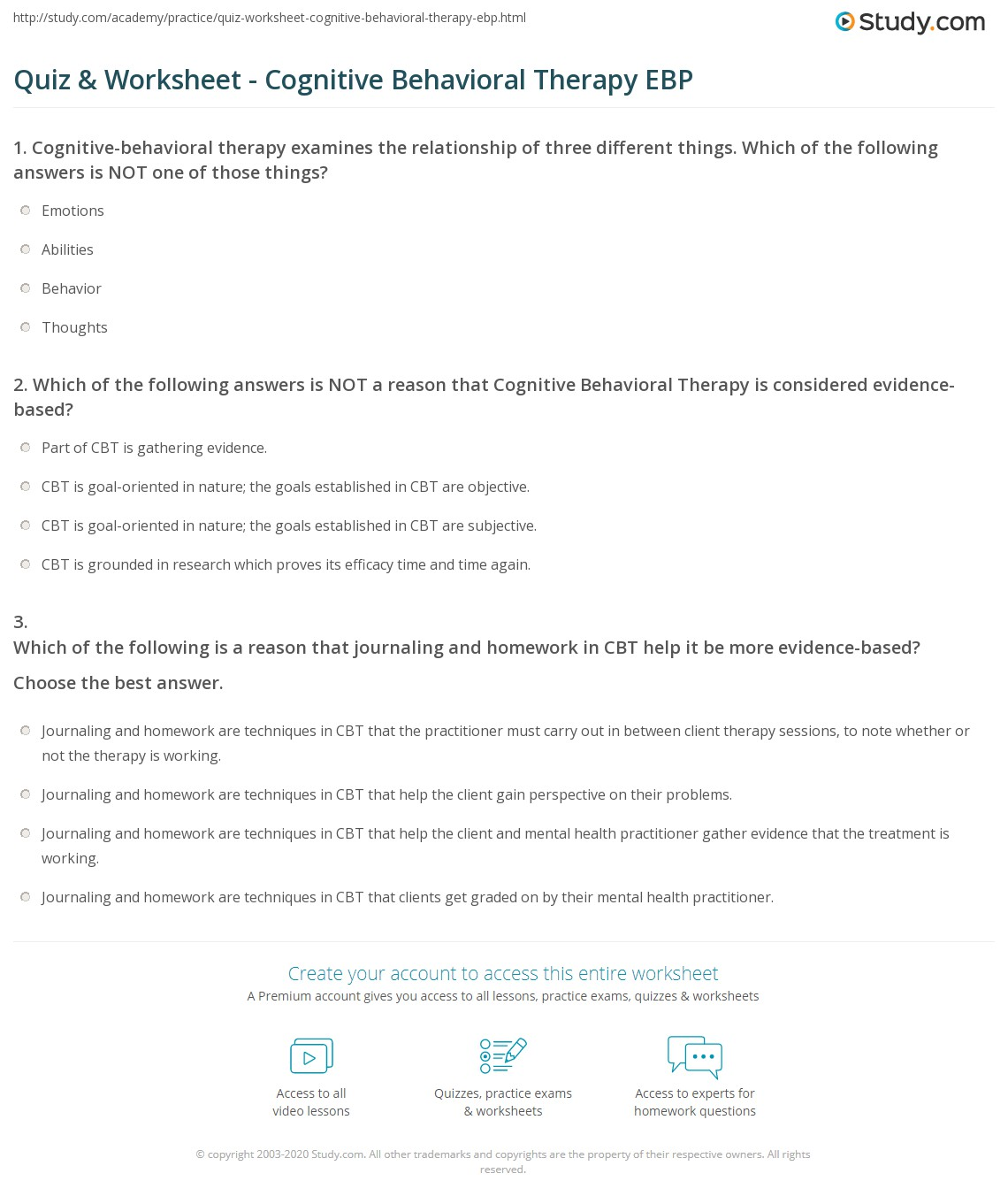 Quiz & Worksheet Cognitive Behavioral Therapy EBP