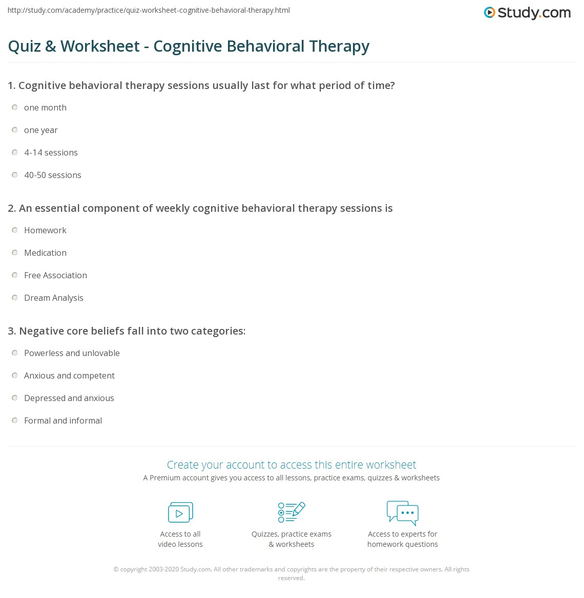 Quiz & Worksheet Cognitive Behavioral Therapy