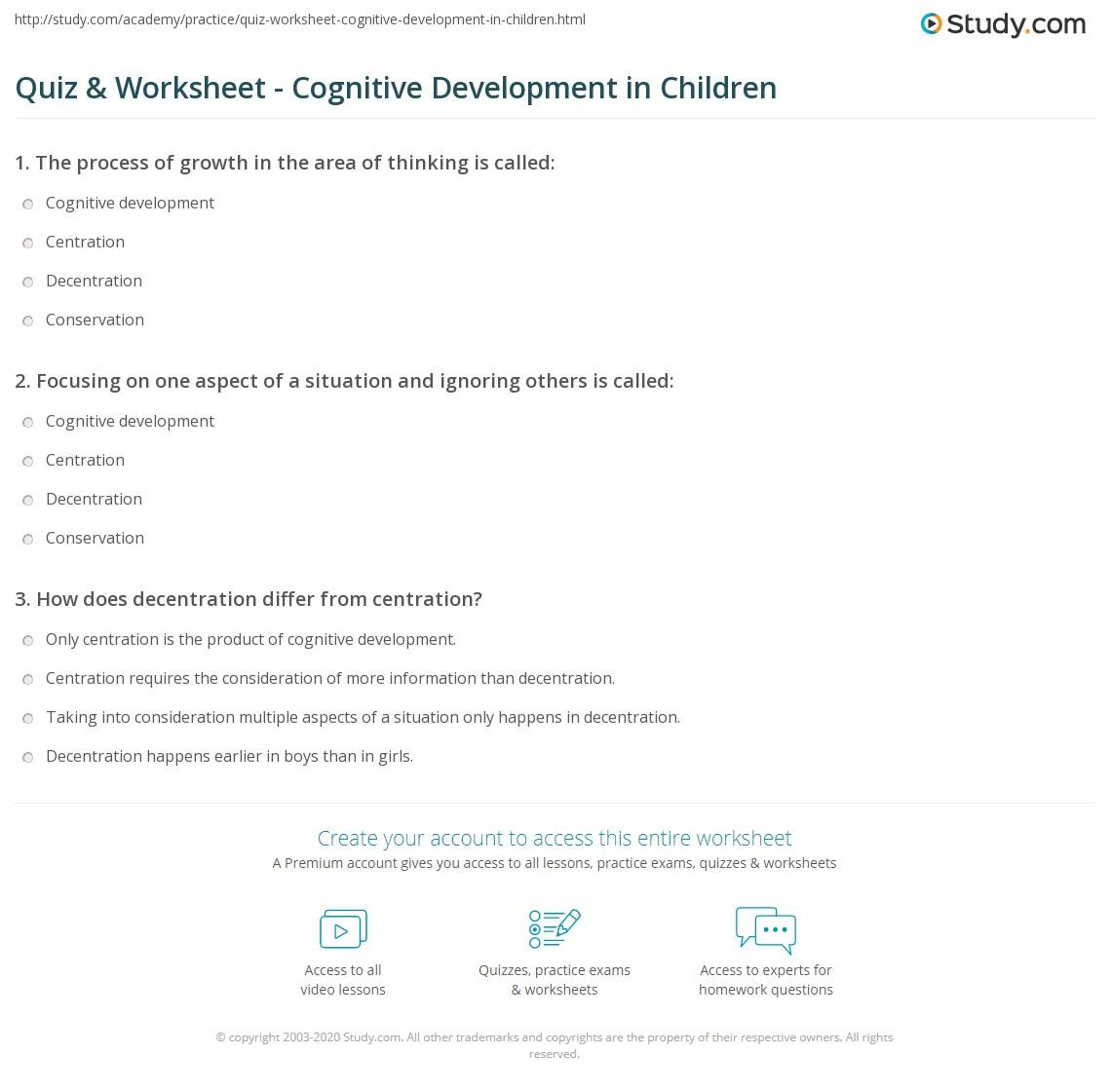 Quiz Worksheet Cognitive Development In Children Studycom