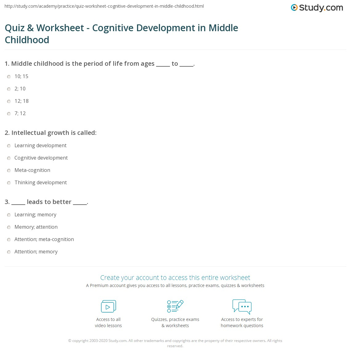 quiz worksheet cognitive development in middle childhood print attention memory and meta cognition development in middle childhood worksheet