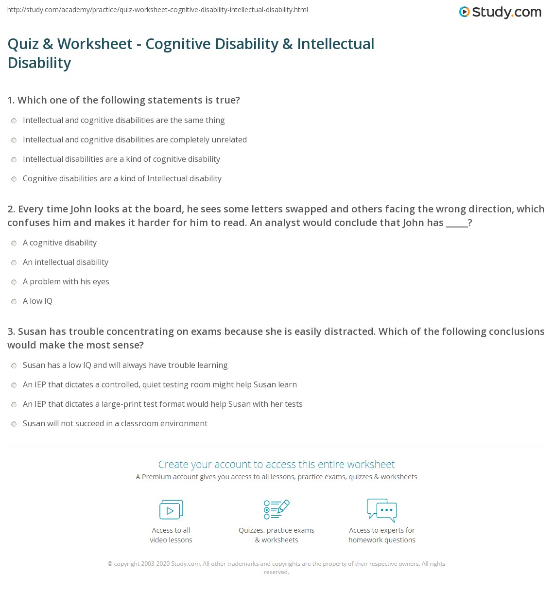 Quiz Worksheet Cognitive Disability Intellectual Disability