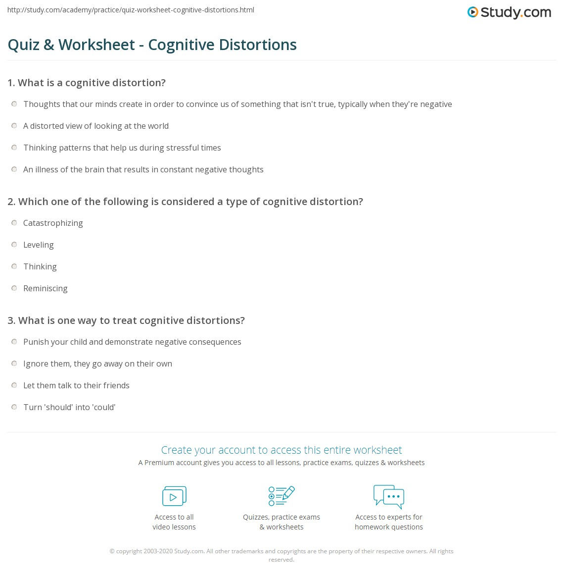 Quiz & Worksheet - Cognitive Distortions | Study.com