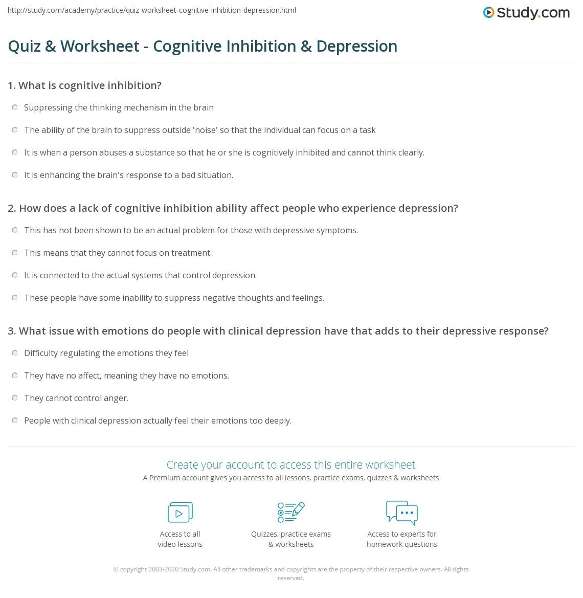 worksheet Cognitive Distortion Worksheet quiz worksheet cognitive inhibition depression study com print in worksheet
