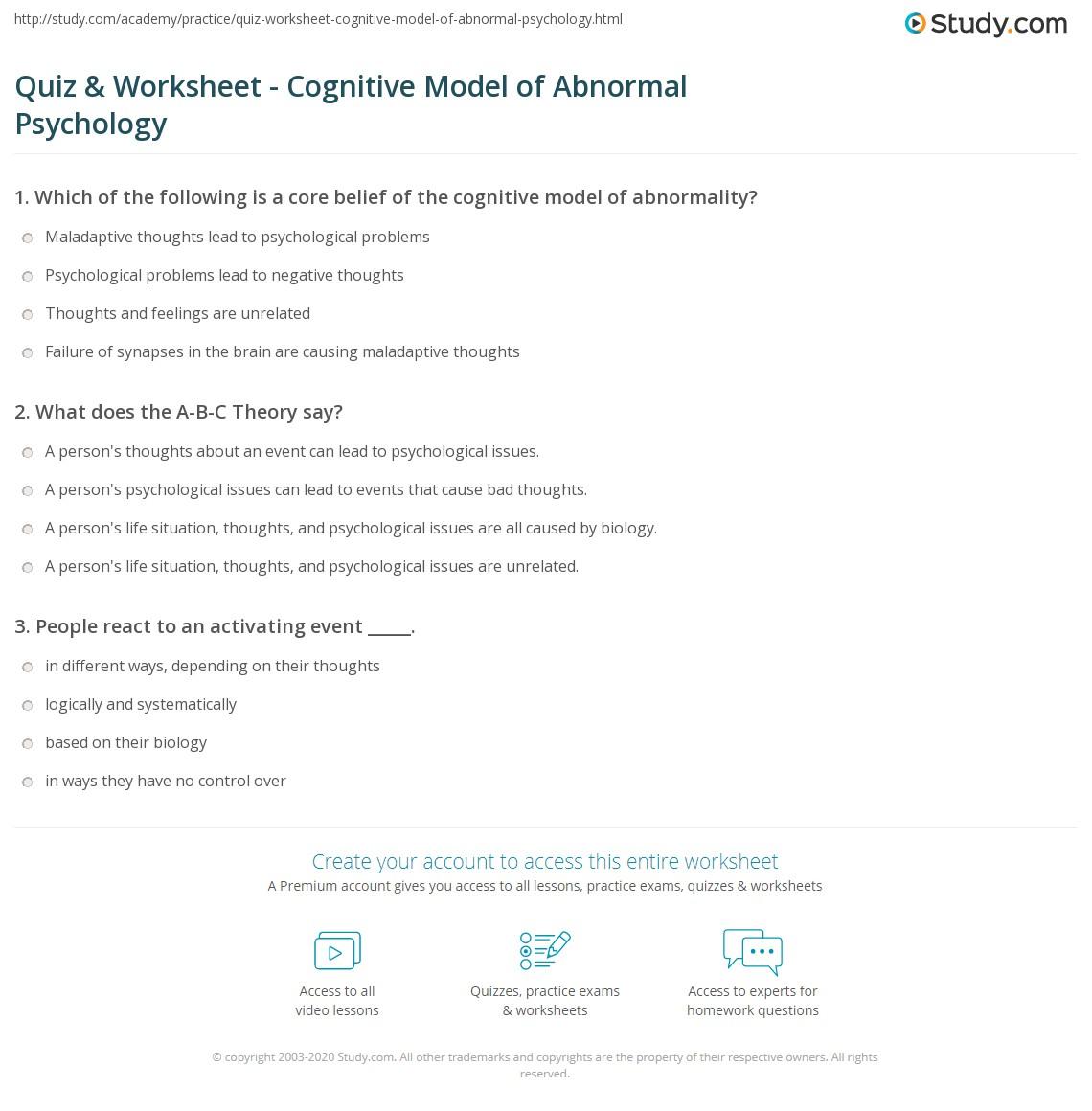 Quiz Worksheet Cognitive Model Of Abnormal Psychology Study Com