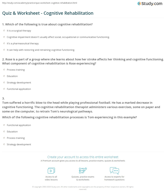 Quiz & Worksheet - Cognitive Rehabilitation | Study.com