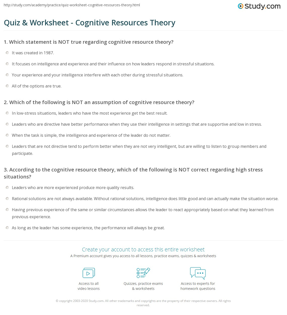 quiz & worksheet - cognitive resources theory | study