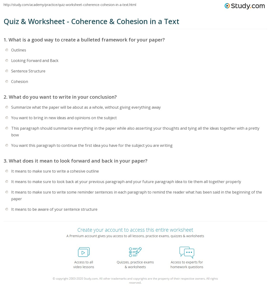 quiz worksheet coherence cohesion in a text com print ensuring coherence cohesion in a text worksheet