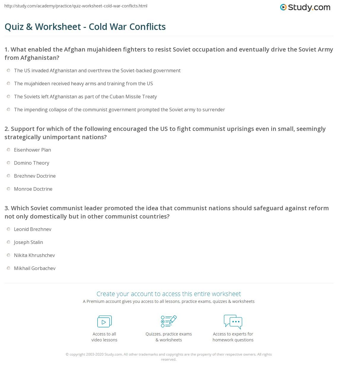 {Quiz Worksheet Cold War Conflicts – Cold War Worksheets