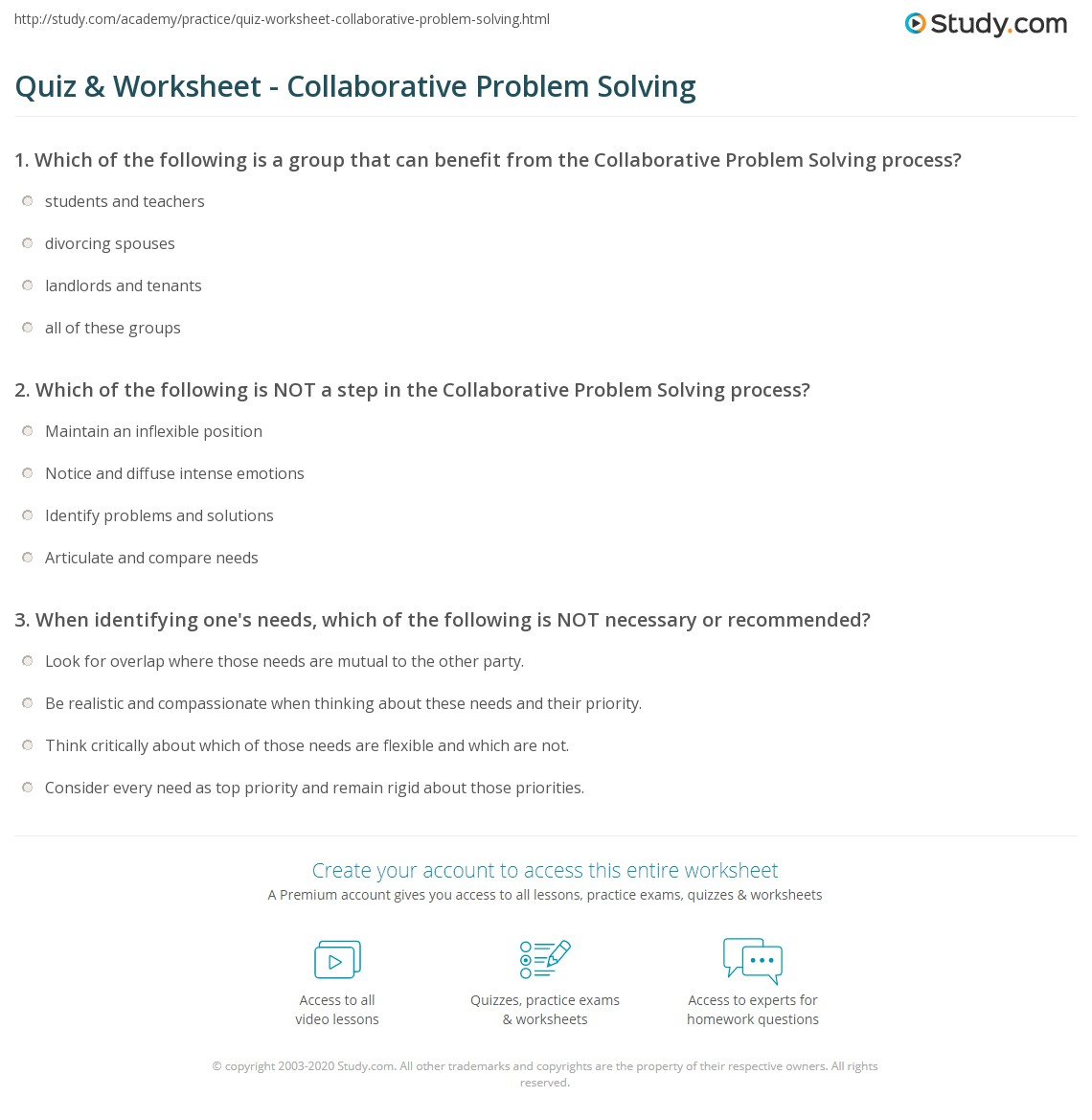 Quiz Worksheet Collaborative Problem Solving Study Com