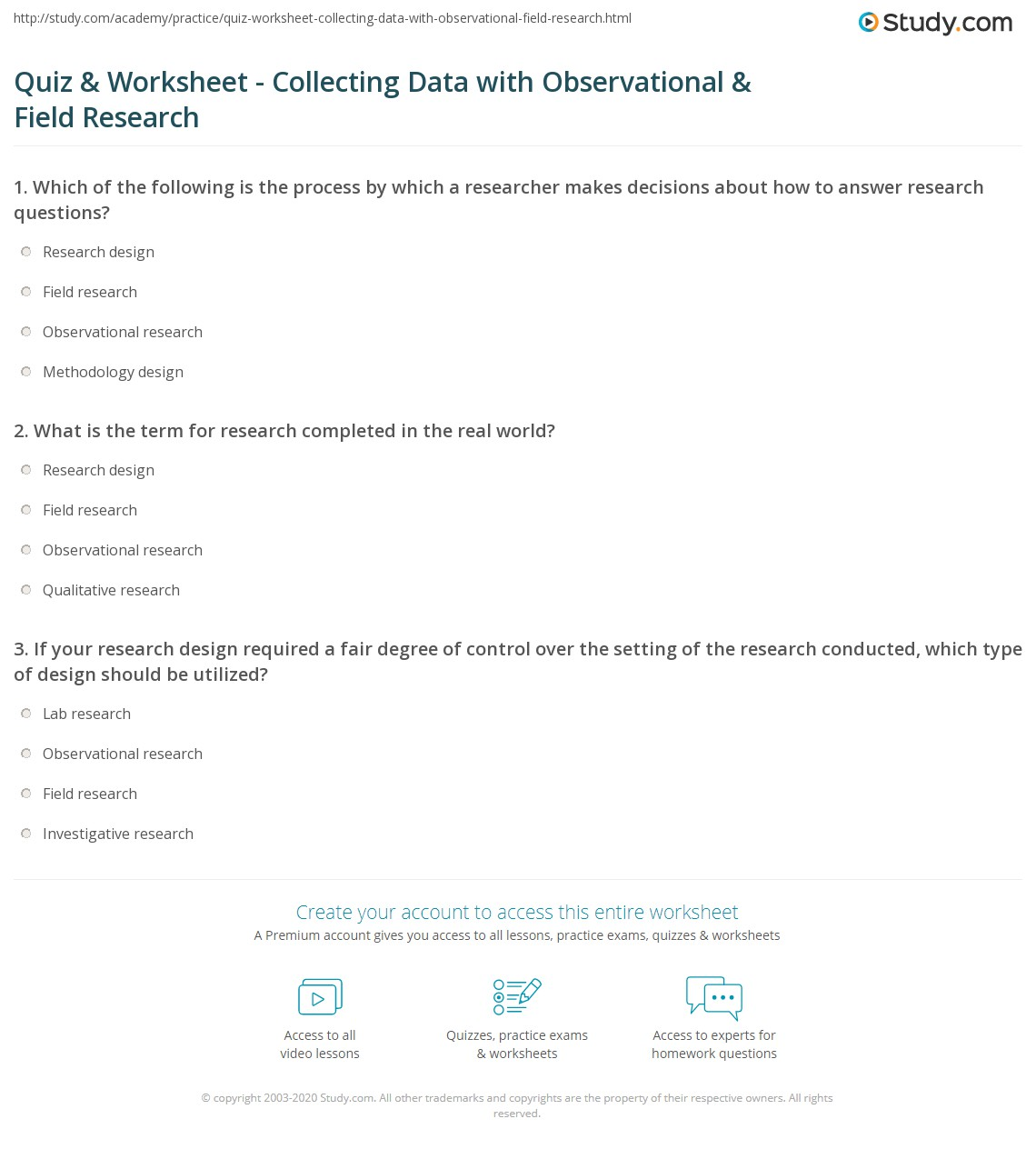 Quiz Worksheet Collecting Data With Observational Field