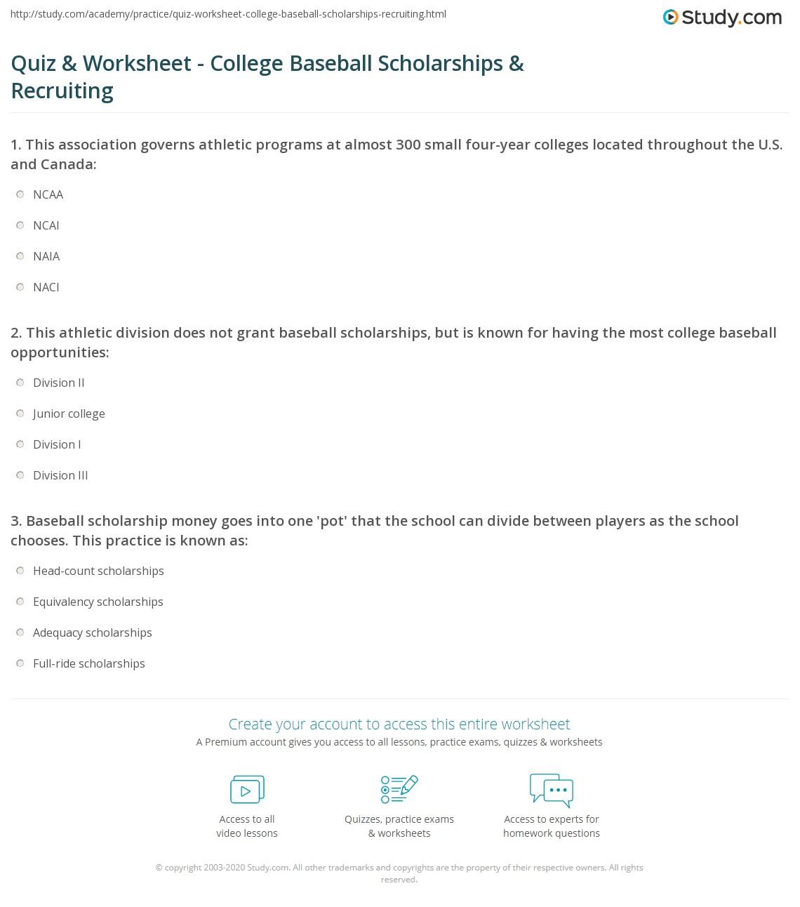 Quiz Worksheet College Baseball Scholarships Recruiting – Ncaa Division 1 Worksheet