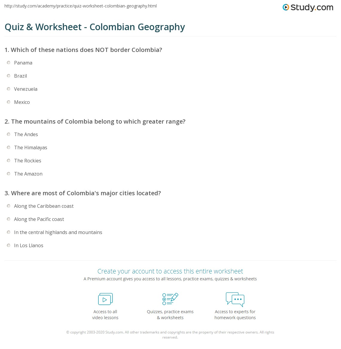 worksheet 4th Grade Geography Worksheets quiz worksheet colombian geography study com print of colombia worksheet