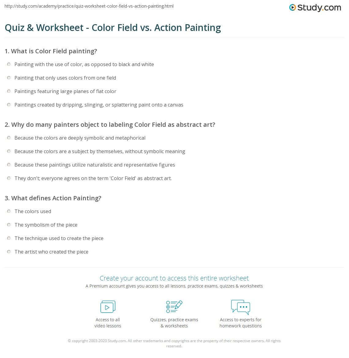 quiz worksheet color field vs action painting. Black Bedroom Furniture Sets. Home Design Ideas