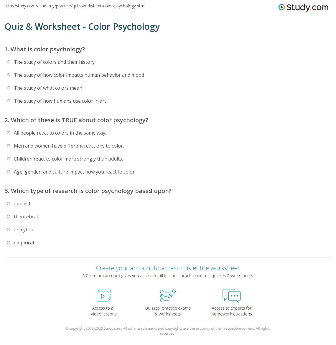Quiz & Worksheet - Color Psychology | Study.com