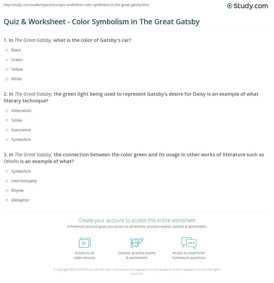 Quiz Worksheet Color Symbolism In The Great Gatsby Studycom