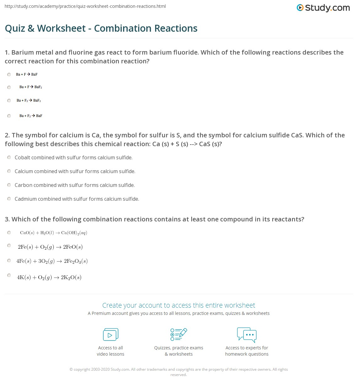 quiz worksheet combination reactions. Black Bedroom Furniture Sets. Home Design Ideas