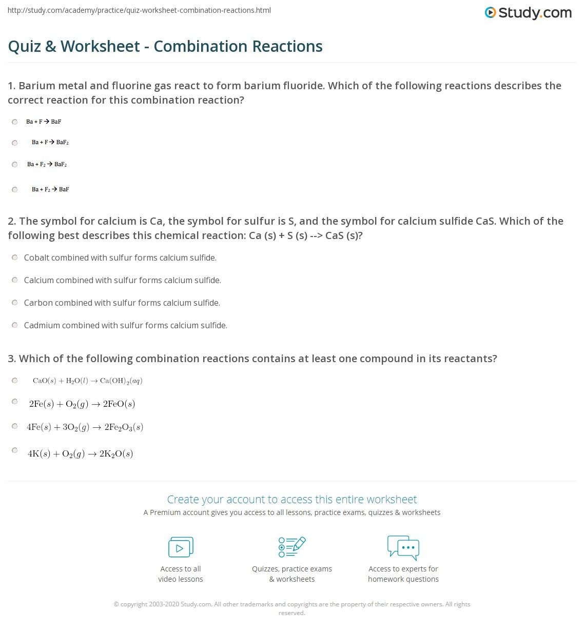 Quiz  Worksheet  Combination Reactions  Studycom